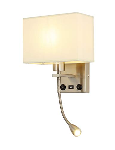 Led Wall Sconces, Bedside Wall Light, Liylan Modern Wall Reading Lamp for Hotel, Bedroom, with USB Port On/Off Switch, Fabric Shade,Brushed Nickel Color