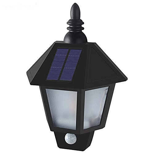 Kangl Luces de pared con sensor de movimiento con energía solar, apliques de seguridad impermeables para exteriores, lámpara de linterna de llama LED, con pantalla de vidrio ABS, para entrada, jardín,