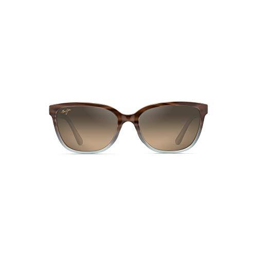 Maui Jim Women's Honi Cat-Eye Sunglasses, Sandstone with Blue/HCL Bronze Polarized, Small