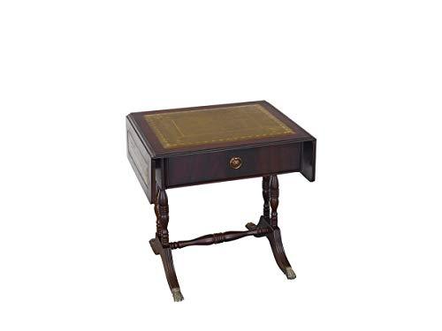 Antiker englischer Beistelltisch um 1930 aus Mahagoni mit grünes Leder | Gateleg Wohnzimmertisch | ausklappbar | B: 50 cm (10140)