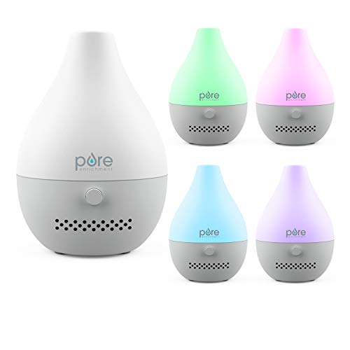 Pure Enrichment PureSpa Drop USB Aroma Diffuser - Waterless Essential Oil Fan Diffuser with 3 Reusable Scent Pads, USB Power Cable, and Color-Changing Mood Light - Ideal for Travel and Small Spaces