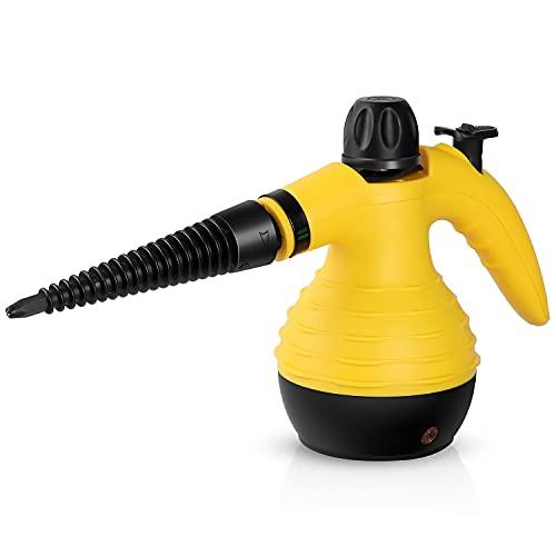 Limpiador a vapor de mano, portátil, limpiador a vapor de mano, limpiador de alta presión, aspirador de vapor, depósito de agua de 350 ml, para cocina, baño, baño, suelo, ventanas, alfombras