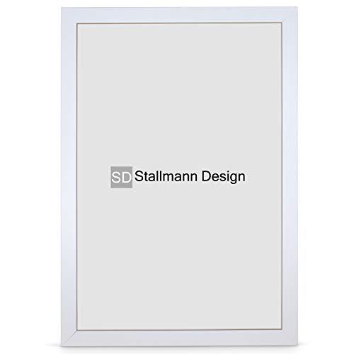Stallmann Design Bilderrahmen New Modern 60x90 cm weiß Rahmen Fuer Dina 4 und 60 andere Formate Fotorahmen Wechselrahmen aus Holz MDF mehrere Farben wählbar Frame für Foto oder Bilder
