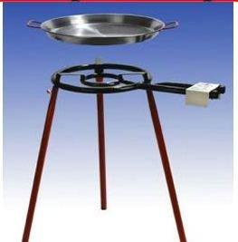 Zeer grote Paella grillset met 2 branders, 45 cm gasbrander (15,7 kW), 55 cm en 70 cm pan, normale voeten, incl. Slang en drukregelaar.
