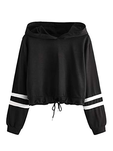 SweatyRocks Women's Drawstring Hem Long Sleeve Crop Top Sweatshirt Hoodies Black M
