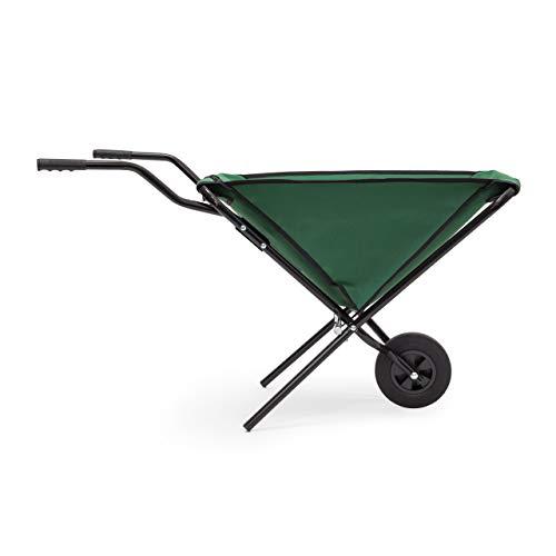 Relaxdays Schubkarre faltbar HBT 66 x 64 x 112 cm Faltschubkarre aus Stahl mit Korb aus stabilem Polyester ca. 56 l Fassungsvermögen platzsparende Gartenkarre zum Aufhängen belastbar bis 30 kg, grün - 6