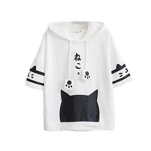 DFEIPING Camiseta Mujer Harajuku Japón Estilo Kawaii Cat Camiseta Blanca con Capucha Manga Corta Algodón Niñas Amigos Camisetas