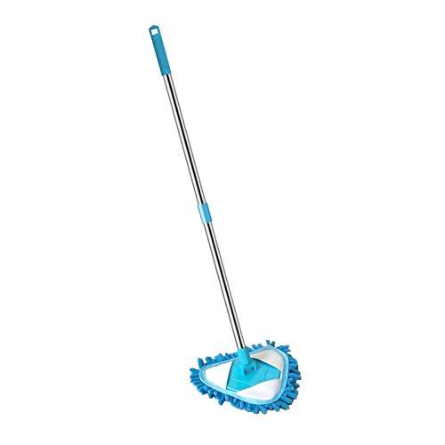 Hotsel Mopa triangular de microfibra para madera dura, laminado, limpieza de suelo de azulejos, 180 grados, mango telescópico de acero inoxidable, limpiador del hogar