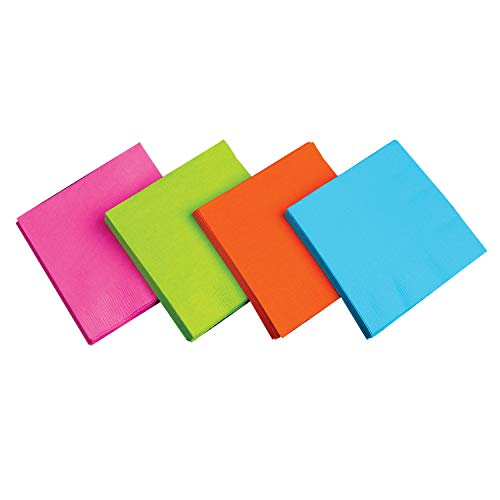 Party Essentials 2-Ply Paper Dinner Napkins, Assorted Neon Brights, 24-Count