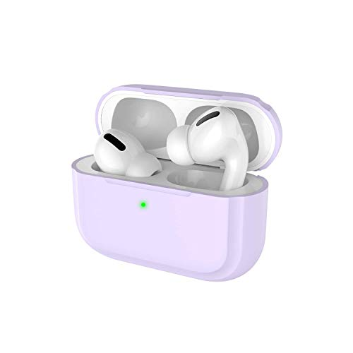 Deppa Protective Purple AirPods Pro Case Cover Silicone Skin for Apple Airpod Pro 2019 Without Keychain (Front LED Visible) (Lavender)
