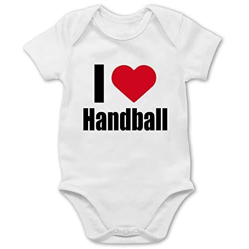Shirtracer Handball WM 2021 Baby - I Love Handball klassisch - 18/24 Monate - Weiß - Geschenk - BZ10 - Baby Body Kurzarm für Jungen und Mädchen