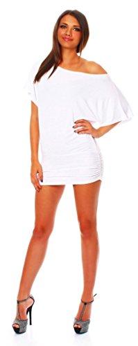 ALB Damen Shirt Bluse Sommer Sommershirt Carmenbluse Longshirt Tunika Bluse Pullover T-Shirt Tank Top Minikleid Weiß XL