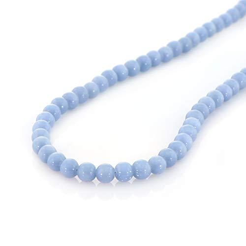 Collar de Angelita natural, gema espiritual azul, elegante joyería de