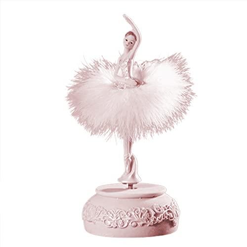 IPOUJ Caja de música de Bailarina Rosa, Blanco Bailarina Girl Spinning Caja de música Falda de Plumas carrusel Caja 3D Caja de música Chica Linda Regalo Pink