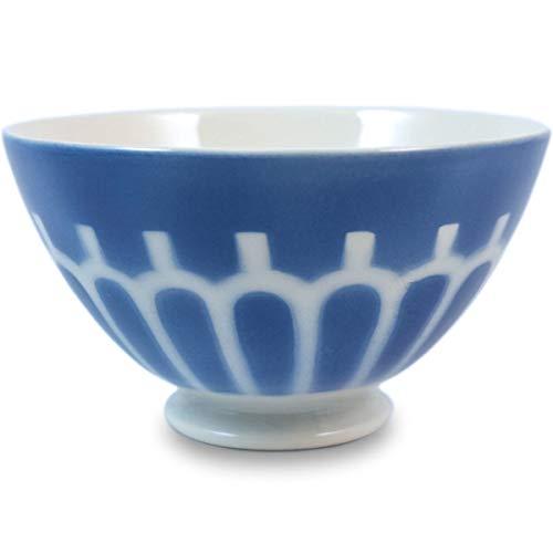 Niderviller Milchkaffee Müsli Schale original Fayence Keramik mit Standfuß groß 50 cl Arkaden blau