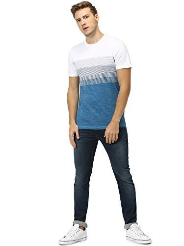 Celio Men's Striped Crew Neck T-Shirt (8904328613268_Blue_XXL)