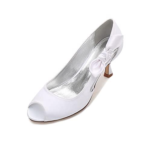 Mujer Satén Zapatos de Novia de Punta Abierta Lazo de la Cinta...