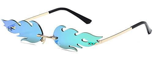 DURINM Gafas de sol Unisex de Llama de Fuego de Moda Gafas de Sol de Onda sin Montura Gafas de Sol Estrechas para Gafas de sol de Verano (azul)