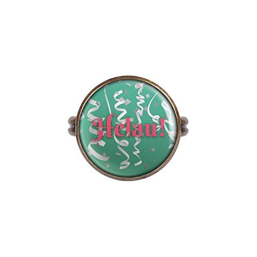 Mylery Anello con Motivo Confetti Helau Carnevale Verde Bianco Bronzo 16mm