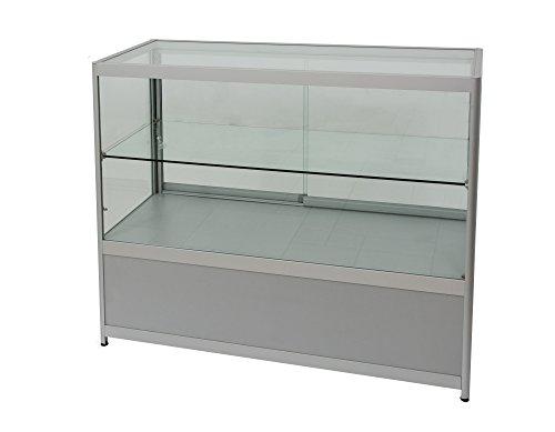 Thekenvitrine mit Holzverblendung und abschließbarer Glasschiebetür Verkaufstheke Ladentheke Beleuchtung Ladeneinrichtung Vitrine Verkaufstisch