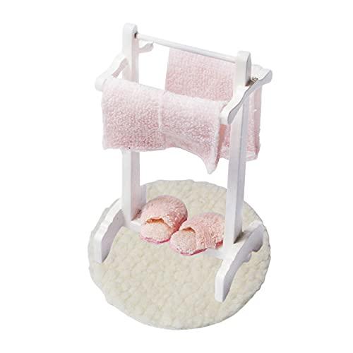 Sonoaud Mini Accesorios De Baño Decoración De Alta Simulación Toallero De Madera Modelo De Alfombra De Piso, Decoración De Muebles De Simulación Regalo para Niños Pequeños Mayores De 3 Años A