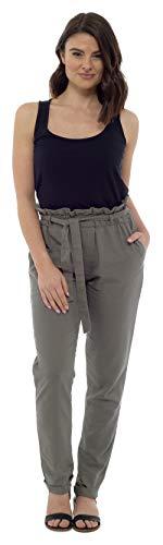 CityComfort Pantalones de Lino para Mujer | Traje de Verano para Las Mujeres con Cintura de Bolsa de Papel de Moda | Reino Unido 38 a 52 Pantalones de Talla Grande para Mujeres (50, Caqui)