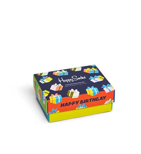 Happy Socks farbenfrohe & verspielte Happy Birthday Socks Gift Box 2-Pack Geschenkboxen für Männer & Frauen, Premium-Baumwollsocken, 2 Paare, Größe 41-46.