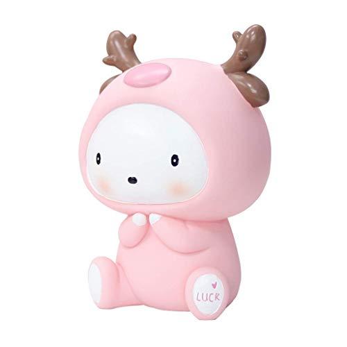 Hucha creativa para huchos, diseño de hucha, color rosa, para decoración del hogar, caja de almacenamiento de monedas, Hucha para niños, juguetes para niños (tamaño: 17,5 cm)