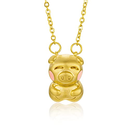 WDBUN Collar Colgante Joyas Regalos de año Nuevo del Cerdo para bebé Cerdo Shajin Lindo Cerdo Colgante Plateado Collar de lechones Regalo de Fiesta de cumpleaños de Navidad de acción de Gracias