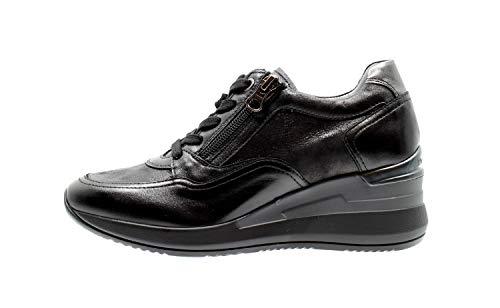 NeroGiardini I013170D Nappa Pandora Nero Sneakers Donna in Pelle con Lacci e Lampo (Taglia 37)