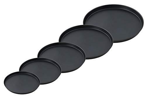 FMprofessional Pizzablech-Set, fünf Bleche in verschiedenen Größen, runde Backbleche aus Blaublech, für tiefgekühlte und selbstgemachte Pizza, Pizzabäcker-Set, (Menge: 1 x 5er Set)