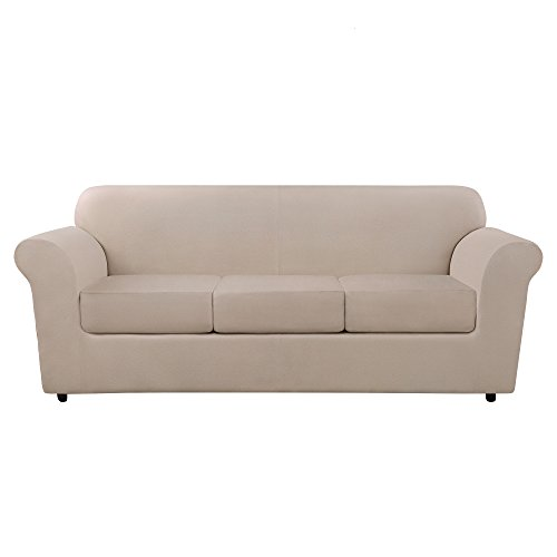 SURE FIT Ultimate Heavyweight Stretch Leather Individual 3 Cushion Sofa Slipcover - Pebbled Ivory (SF46676)