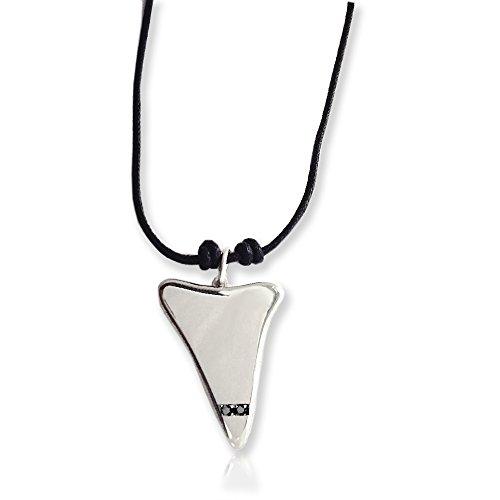 Ciondolo a forma di dente di squalo in argento massiccio 925/1000 con zirconi neri. Flores gioielli
