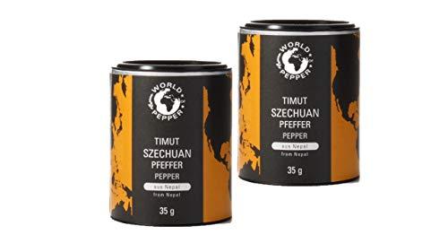 Pepperworld Nepalesischer Szechuan-Pfeffer Set, fruchtiger Gewürz-Pfeffer aus Timut in mittel-scharf, ganze Pfeffer-Körner mit Stiel, 2 x 35 Gramm