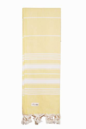 Captain&Mermaid® Premium Strandtuch aus 100% Baumwolle Oeko-TEX® | Badetuch | Handtuch | Yoga | Peshtemal | Sauna Tuch | Hamam Tuch | leicht, dünn & extra saugstark (Gelb)