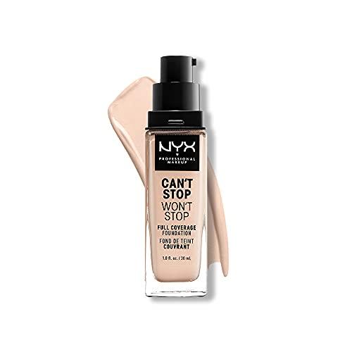 NYX Professional Makeup Can't Stop Won't Stop Full Coverage Foundation, Langanhaltend, Wasserfest, Vegane Formel, Mattierter Teint, Farbton: Light porcelain