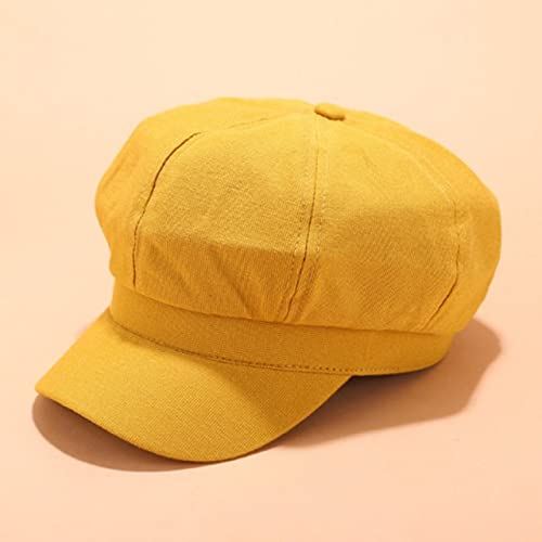Shihuawu Sombrero de Vendedor de periódicos de Mujer sólida en Blanco Sombrero de Sol Retro para Mujer Primavera y otoño Gorra Octogonal Retro Sombrero transpirable-amarillo-adulto-G1028