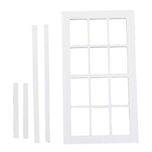 1:12 Skala Puppen Haus Miniatur Aus Holz 12 Bereich Fenster Frame weiß