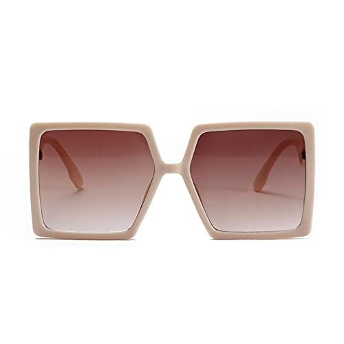 ShZyywrl Gafas De Sol De Moda Unisex Gafas De Sol Cuadradas De Gran Tamaño, Gafas De Sol Rectangulares para Hombres Y Mujeres, Vintage Retro, Gafas De Sol, LUN