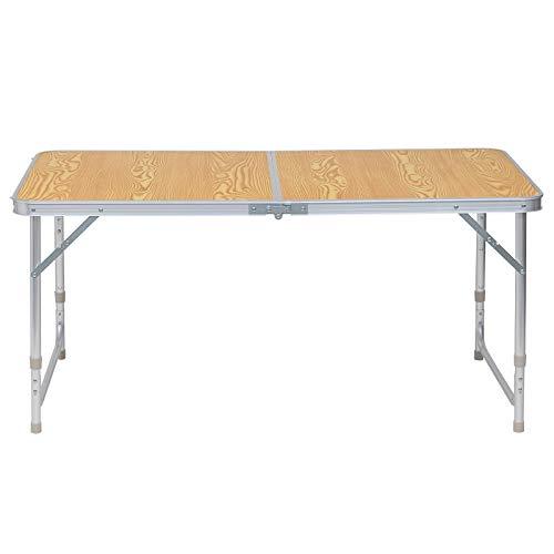 eSituro Campingtisch Reisetisch zusammenklappbar Pickniktisch höhenverstellbar 120x60x55-62-70cm, Tischplatte aus MDF, Eiche