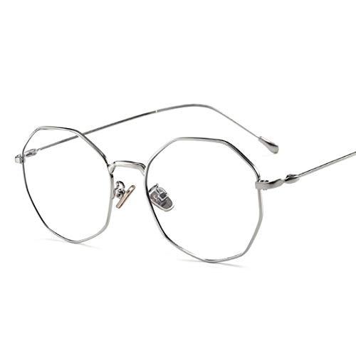 Ovesuxle Anti-Blau-Brillen aus Metall für Männer und Frauen mit Brillengestell (Color : Silver)