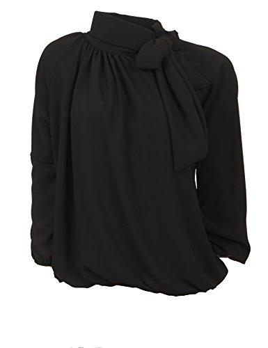 Moda Italia Elegante Schlupfbluse Damen Bluse aus Chiffon Schluppenbluse mit Steh, Schleifen Kragen Pump Bluse Tunika