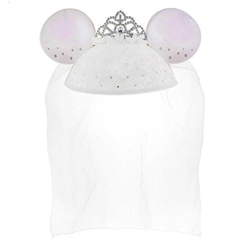 Disney Parks Exclusive Mickey Minnie Bride Ears Hat Veil