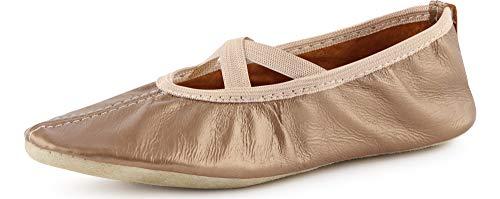 Ladeheid Chaussures de Ballet Ballerines Chaussons de Cuir Garçon Fille et Femme (Tailles 25-41) LAJD002 (Or, 31 EU)