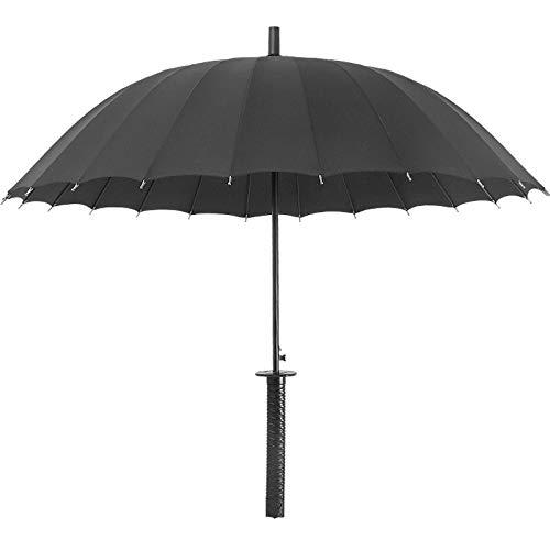 Kreative geraden Regenschirm Samurai Schwert-Stil, automatische offenen Regenschirm Männer Faser Regenschirm, Knochen Langen Griff dekorativen Regenschirm Straight Umbrella schwarz