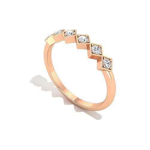 SGL - Anello da donna in stile vintage, a forma quadrata, con diamanti sintetici e diamanti sintetici, a zig zag, in oro 18 carati e Oro rosa, H1/2, colore: Rosa, cod. RCRI032012772-18