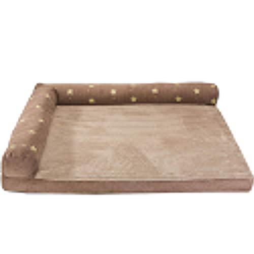 Cama Extra Grande para Perros en Forma de L con Funda Lavable &Desmontable, Sofa Cama Mascotas con la Almohada para Perro Mediano Grande Marrón con Estampado de Estrellas XL