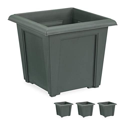 Relaxdays, anthrazit Pflanzkübel, 4er Set, quadratisch, außen u. innen, Kunststoff, Pflanztopf, Füllmenge 5 Liter Erde