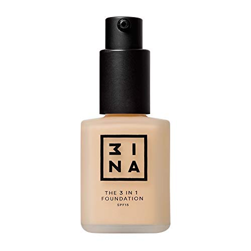 3INA MAKEUP - The 3 in 1 Foundation 202- Vegan - 12H Langlebige Formel -Wasserdicht Foundation - SPF15 30 ml