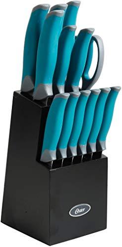 Oster Lindbergh 14 Piece Stainless Steel Cutlery Set Black Block, Teal Handles,Teal/Black